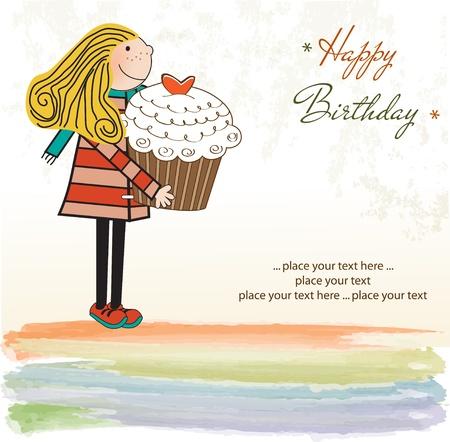 pastel feliz cumplea�os: Tarjeta de feliz cumplea�os con la ni�a y una magdalena Vectores