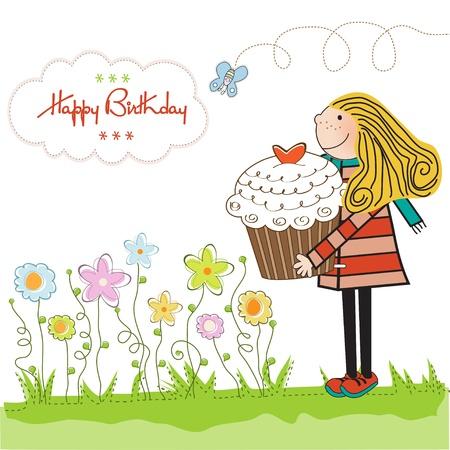 Alles Gute zum Geburtstag Karte mit Mädchen und kuchen Vektorgrafik