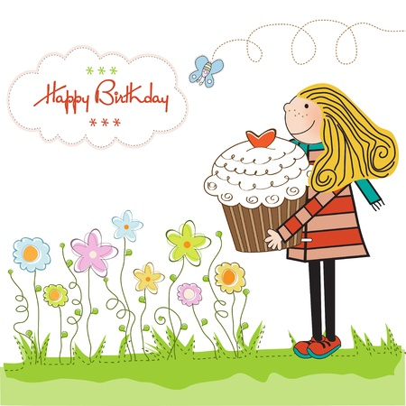 birthday food: Happy Birthday card with girl and cupcake