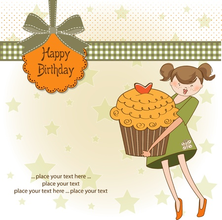 Happy Birthday card with girl and cupcake Stock Vector - 11021890