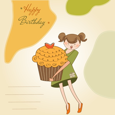 Happy Birthday card with girl and cupcake Vector