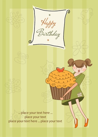 Happy Birthday card with girl and cupcake Stock Vector - 11022004