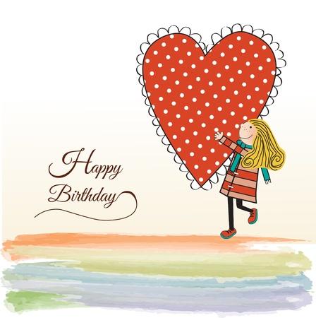 happy birthday girl: Happy birthday card with a girl