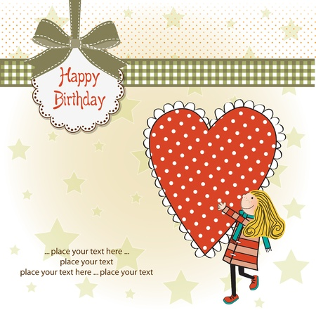 Happy birthday card with a girl Stock Vector - 11021817