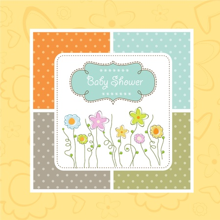 delicate baby shower card with flowers Vector