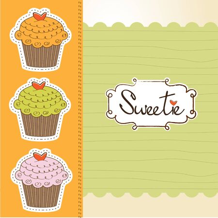 Happy birthday cupcakes Vector