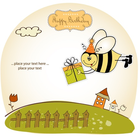 Birthday card with bee Vector