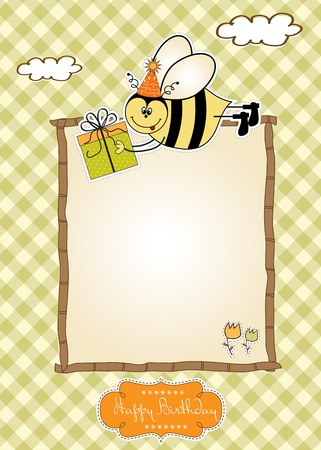bee birthday party: Birthday card with bee