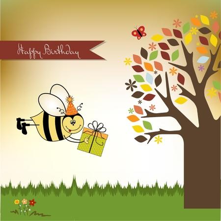 Felicitaci�n de cumplea�os con abejas