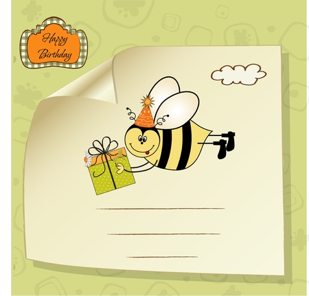 Birthday card with bee Stock Vector - 11021411