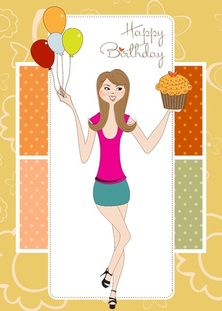 fancy pastry: Sweet Sixteen Birthday card with young girl
