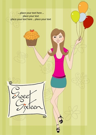 sixteen: Sweet Sixteen Birthday card with young girl