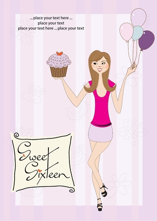 sweet sixteen: Sweet Sixteen Birthday card with young girl
