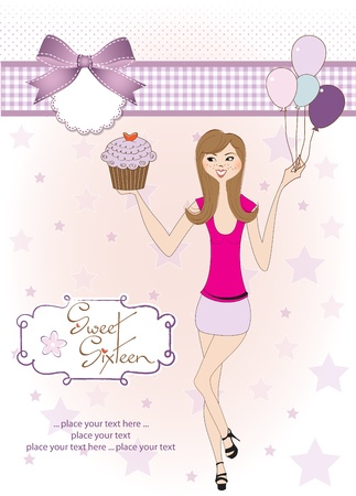 special occasion: Sweet Sixteen Birthday card with young girl