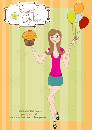 Sweet Sixteen Birthday card with young girl Stock Vector - 11022028