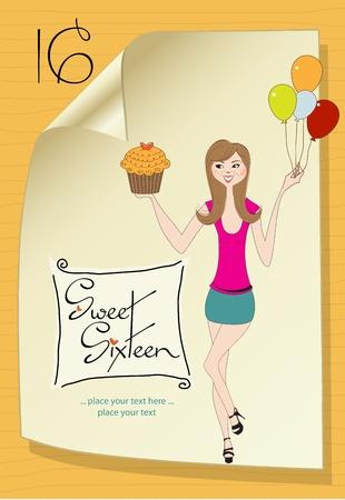 sweet sixteen: Sweet Sixteen Birthday card with young girl