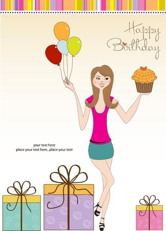 sweet treats: Sweet Sixteen Birthday card with young girl