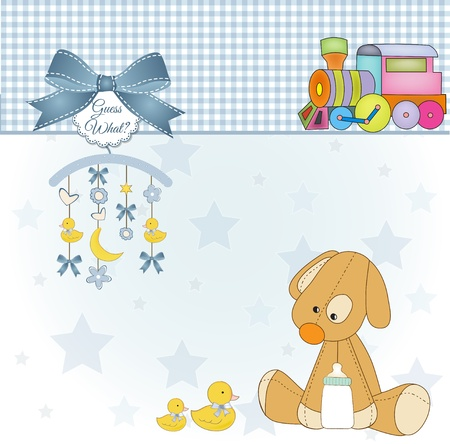 Baby shower card with puppy toy Stock Vector - 11022656
