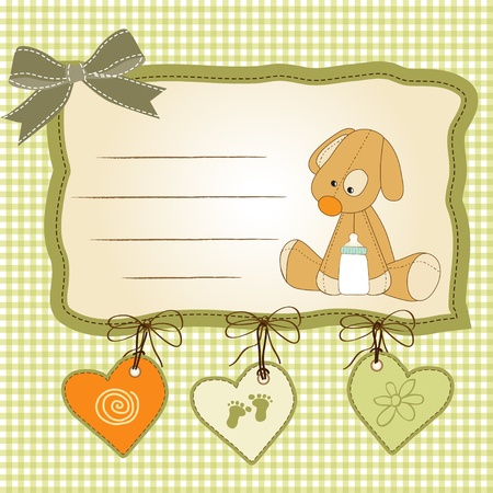 Baby shower card with puppy toy Stock Vector - 11022040