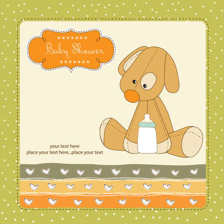 Baby shower card with puppy toy Vector