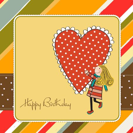 Happy birthday card with a girl