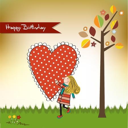compleanno: Carta di buon compleanno con una ragazza Vettoriali