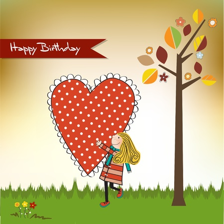 happy love: Happy birthday card with a girl