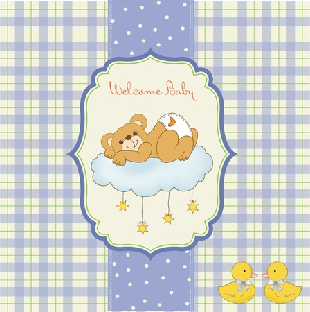 New baby shower card with spoiled teddy bear Stock Vector - 11022211