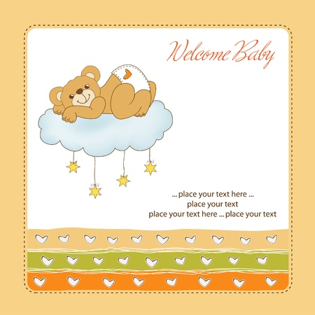 New baby shower card with spoiled teddy bear Stock Vector - 11021811