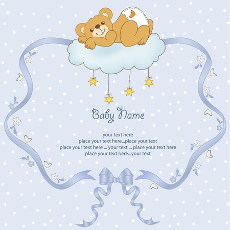 New baby shower card with spoiled teddy bear Vector