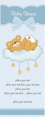 New baby shower card with spoiled teddy bear Stock Vector - 11021119