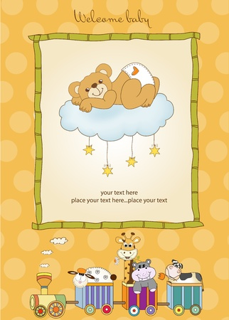 New baby shower card with spoiled teddy bear Stock Vector - 11022226