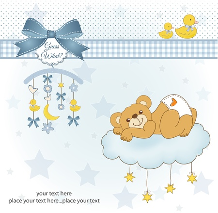 abstractly: New baby shower card with spoiled teddy bear Illustration