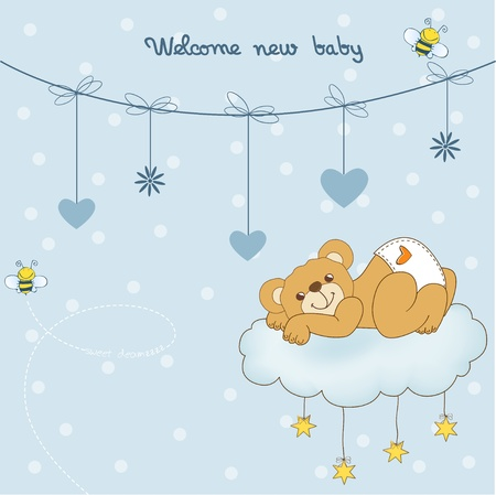 New baby shower card with spoiled teddy bear Stock Vector - 11021809