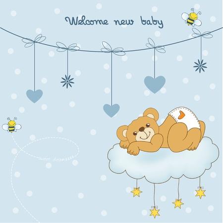 Nouvelle carte de douche de bébé gâté avec ours en peluche