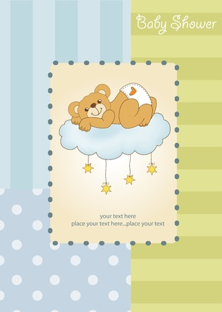 adoring: New baby shower card with spoiled teddy bear Illustration