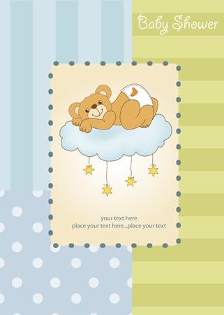 Nouvelle carte de douche de bébé gâté avec ours en peluche Vecteurs