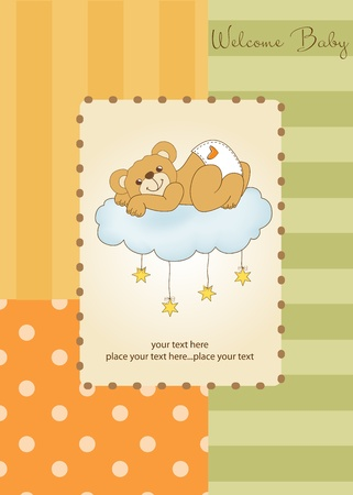 New baby shower card with spoiled teddy bear Stock Vector - 11022113