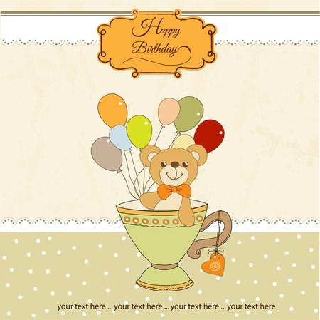 New baby announcement card with teddy bear and balloons Stock Vector - 11022572