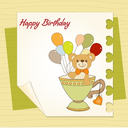 nice background: New baby announcement card with teddy bear and balloons