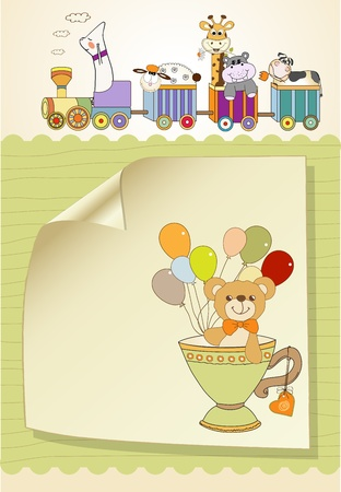 New baby announcement card with teddy bear and balloons
