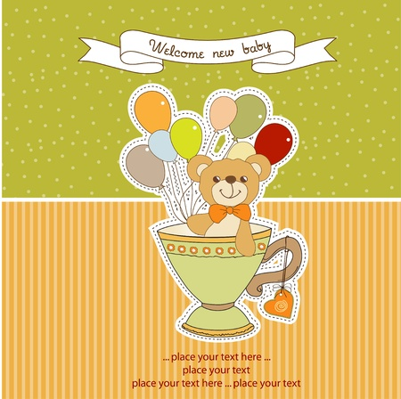 New baby announcement card with teddy bear and balloons Vector