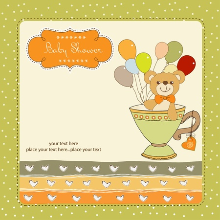 New baby announcement card with teddy bear and balloons Stock Vector - 11021818