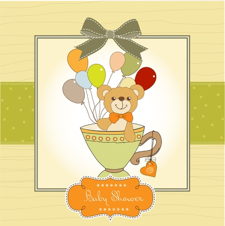 New baby announcement card with teddy bear and balloons Stock Vector - 11021894