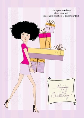 Birthday card - pretty young lady with arms full of gifts Vector
