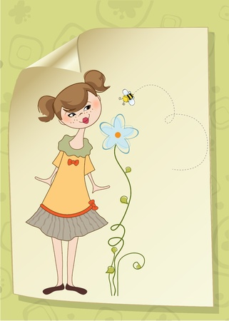 bliss: Small young lady who smells a flower