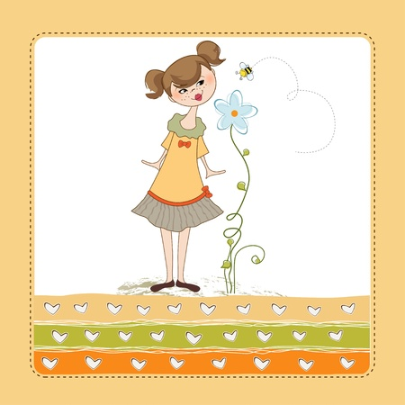Small young lady who smells a flower Vector