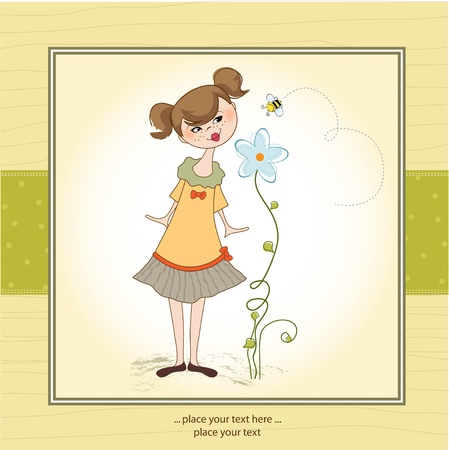happines: Small young lady who smells a flower