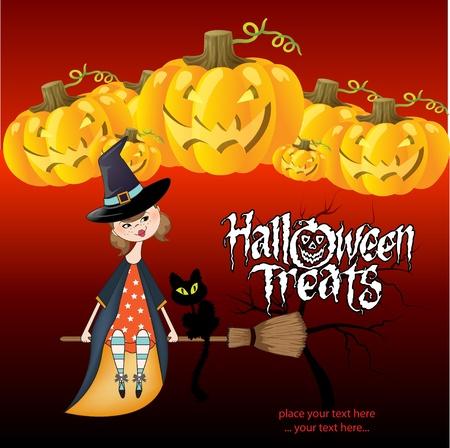 sorci�re halloween: Fond sorci�re Halloween Illustration