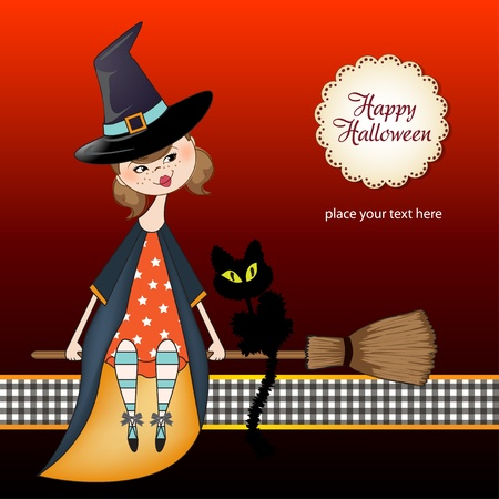 Halloween witch background Vector